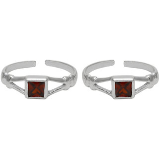 Abhooshan Fashionable pair of Cubic Zirconia Toe Rings in 92.5 Sterling Silver
