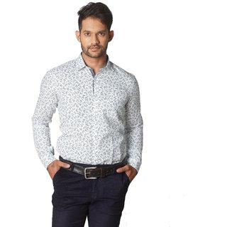 Printed Cotton Linen Shirt White  Uomo Ricco Mens Shirt  M