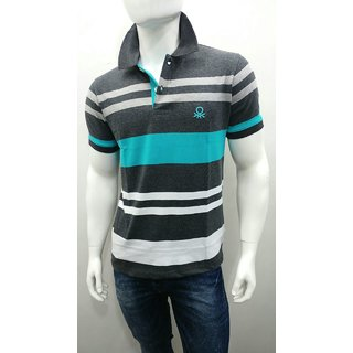 Unitd Colours of Beneton Mens Polo T-Shirt - Dk. Grey Melange