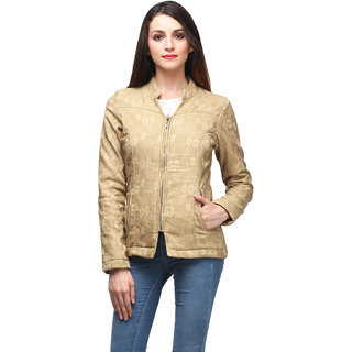Be-Beu Beige Self Design Womens Jacket