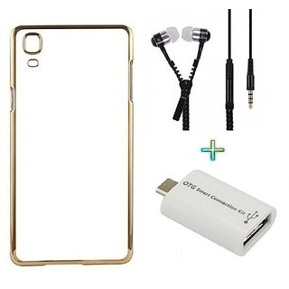 Meephone Back Cover  For SAMSUNG 9082 (Transparent  GOLDEN) With Zipper Earphone  OTG SMART