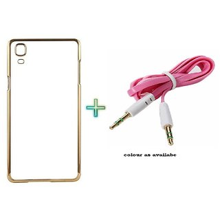 Meephone Back Cover  For SAMSUNG G360 (Transparent  GOLDEN) With AUX CABLE