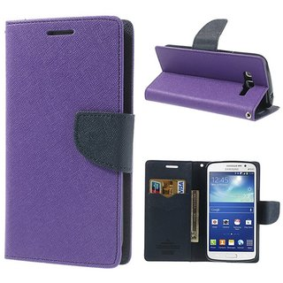 WALLET FLIP COVER(PURPLE) FOR SAMSUNG E5