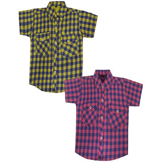 Fashionitz Boys, Girls Cotton Checkered Multicolor Shirt Pack of 2