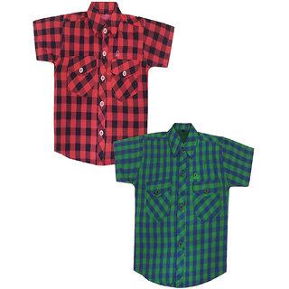 Fashionitz Boys, Girls Cotton Checkered Multicolor Shirt Pack of 2