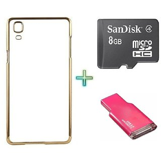Meephone Back Cover  For SAMSUNG J1 ACE (Transparent  GOLDEN) With 8GB Memory Card  Crad Reader