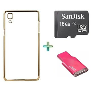 Meephone Back Cover  For SAMSUNG G355 (Transparent  GOLDEN) With 16GB Memory Card  Crad Reader