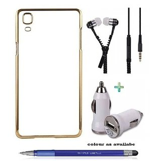 Meephone Back Cover  For SAMSUNG J7 (Transparent  GOLDEN) With ZIPPER Earphone,CAR CHARGER  Stylus Pen