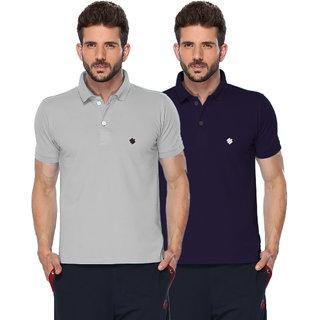 ONN Grey Mellange  Purple Polo Neck Half Sleeve Mens T-shirt