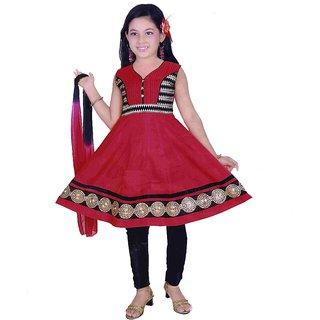 Sarrah Girls Black & Red Churidar Set (Size: 26)