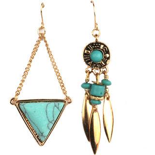 Jazz Jewellery Combo Set Huggies Gold Plated Hard Triangle Design Green Pearl