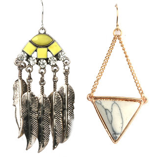 Jazz Jewellery Combo Set Huggies Gold Plated Hard white Yellow Pearl Oval Diamond