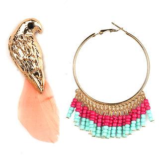 Jazz Jewellery Hoop or Huggies Gold Plated Parrot Design Combo Earrings Set