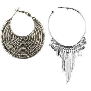 Jazz Jewellery Hoop or Huggies Silver Plated Circle Combo Earrings Set