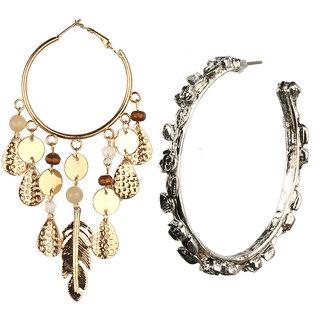 Jazz Jewellery Hoop or Huggies Gold Plated Circle Combo Earrings Set