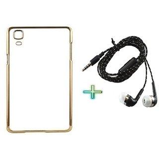 Meephone Back Cover  For VIVO V3 MAX (Transparent  GOLDEN) With TARANG EARPHONE
