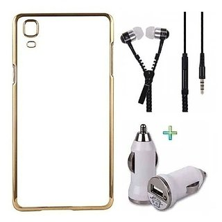 Meephone Back Cover  For IPHONE 4G (Transparent  GOLDEN) With Zipper Earphone  Car Charger