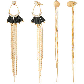 Jazz Jewellery Gold Plated, Long chain and diamond studded Combo Earrings
