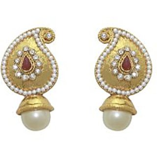 La Trendz Ruby With Pearl Drop Stud Earring For Girls And Women