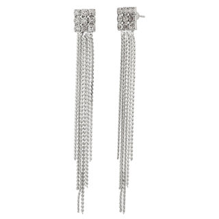 Jazz Jewellery Silver Plated Long Chain and Diamond Studded Earrings