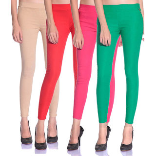 SNP latest Beige,Red,Pink and Green cotton lycra zip jeggings pack of 4 for womens