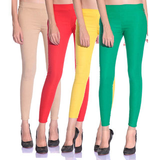 SNP latest Beige,Red,Yellow and Green cotton lycra zip jeggings pack of 4 for womens