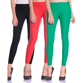 SNP latest Black,Red and Green cotton lycra zip jeggings pack of 3 for womens