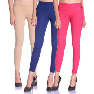 SNP latest Beige,Blue and Pink cotton lycra zip jeggings pack of 3 for womens
