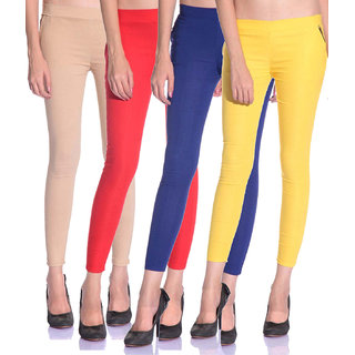 SNP latest Red,Blue and Yellow cotton lycra zip jeggings pack of 3 for womens