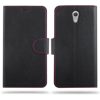 Cool Mango Ceego Compact Flip Cover for Lenovo Zuk Z1 - 100 Premium Faux Leather Flip Case for Lenovo Zuk Z1 with 360 Degree Stitching, Magnetic Lock, Card Currency Slot (Jet Black)