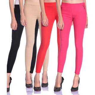 SNP latest Black,Beige,Red and Pink cotton lycra zip jeggings pack of 4 for womens