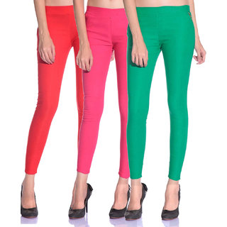 SNP latest Red,Pink and Green cotton lycra zip jeggings pack of 3 for womens