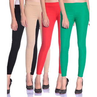 SNP latest Black,Beige,Red and Green cotton lycra zip jeggings pack of 4 for womens