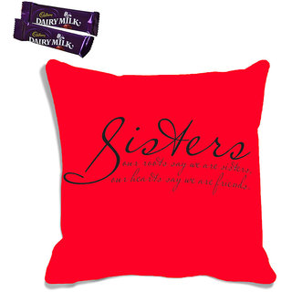 meSleep Red Sister Raksha Bandhan Cushion Cover (With Filling - 16x16 Inches)  With Chocolates