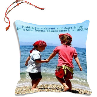 meSleep Brother  Sister Raksha Bandhan Cushion Cover (With Filling - 16x16 Inches)  With Beautiful Rakhis