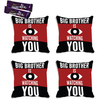 meSleep Big Brother Raksha Bandhan Cushion Cover (16x16)- Set Of 4  With Chocolates