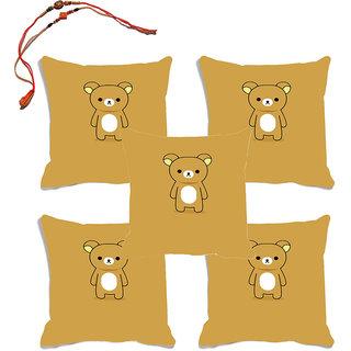 meSleep Brown Teddy Raksha Bandhan Cushion Cover (16x16)- Set Of 5 With Beautiful Rakhis