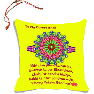 meSleep Yellow Quotes Raksha Bandhan Cushion Cover (16x16) With Beautiful Rakhis