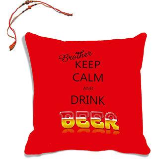 meSleep Red Brother Quotes Raksha Bandhan Cushion Cover (16x16) With Beautiful Rakhis