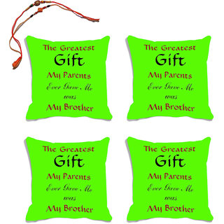 meSleep Green Quotes Raksha Bandhan Cushion Cover (16x16)- Set Of 4  With Beautiful Rakhis