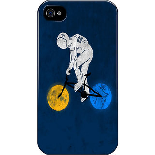 Dreambolic Astronaut-On-Bicycle Printed Back Cover For Iphone 4