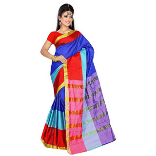Fabplus Multicolor Cotton Block Print Saree With Blouse