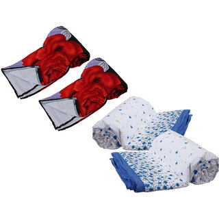IndiWeaves Combo offer of Micro Fiber Single Bed Dohar (2 Pieces) with Cotton Single Bed Dohar (2 Pieces) - (Pack of 4 Dohars)
