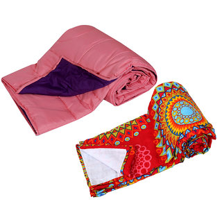 IndiWeaves Combo Offer of Micro Fiber Comforter for Single Bed with Micro Fiber Dohar for Double Bed (Pack Of 2)