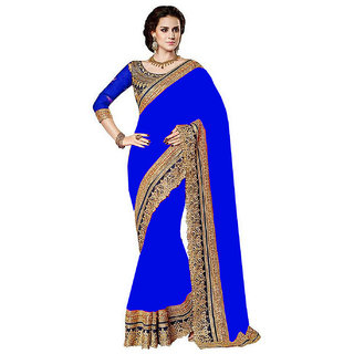 SuratTex Blue Chiffon Embroidered Saree With Blouse