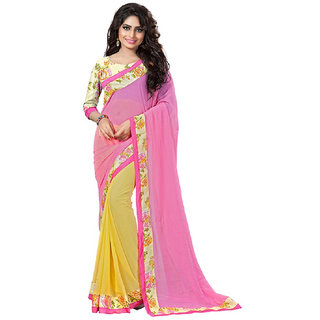 SuratTex Pink Chiffon Lace Saree With Blouse