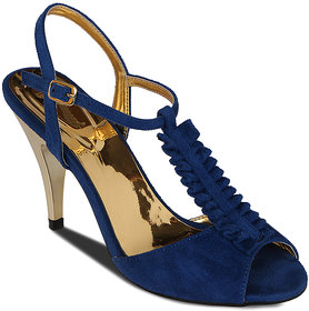 Flora Suede Blue Stiletto Sandal