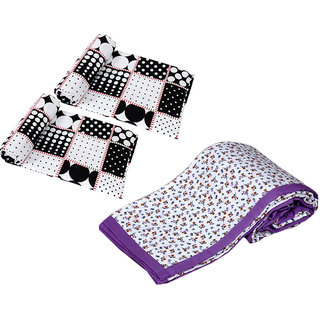 IndiWeaves Combo offer of Micro Fiber Single Bed Dohar (2 Pieces) with Micro Fiber Double Bed Dohar - (Pack of 3 Dohars)