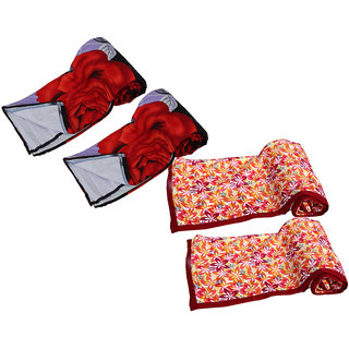 IndiWeaves Combo offer of Micro Fiber Single Bed Dohar - (Pack of 4 Dohars)