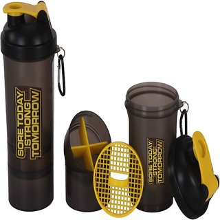 FITNESS 87 SMART SHAKER BOTTLE 500ML WITH 2 STORAGE YELLOW CAP